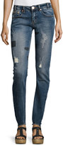 One Teaspoon Hoodlums Distressed Skinny Jeans with Patches, Blue Milke