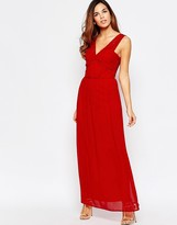 Elise Ryan Ruched Maxi Dress With Open Lace Back Detail