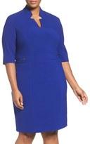 Tahari Zip Detail Sheath Dress (Plus Size)
