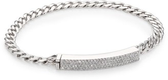 Adriana Orsini Cubic Zirconia Pave & Rhodium-Plated ID Bracelet