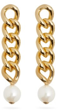 Rosantica Canasta Pearl-embellished Curb-chain Drop Earrings - Pearl