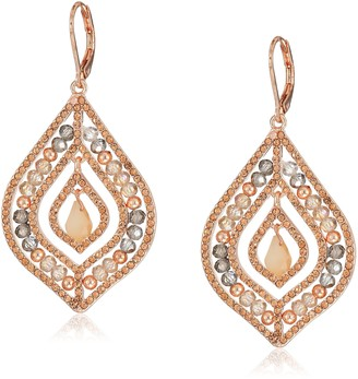 lonna & lilly Rose Gold-Tone and Blush Crystal Beaded Chandelier Earrings