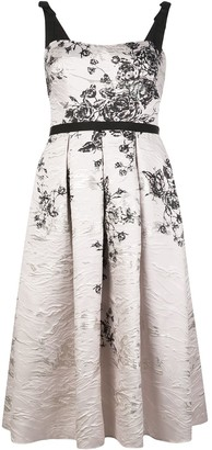 Marchesa Notte Floral Print Pleated Dress