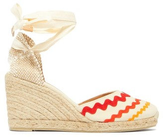 Castaner Craby 80 Striped Canvas And Jute Platform Wedges - Womens - Red White