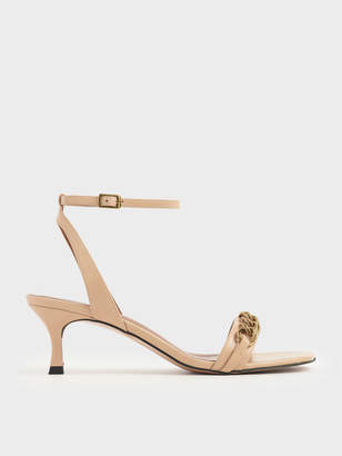 Charles & Keith Chain Link Kitten Heel Sandals