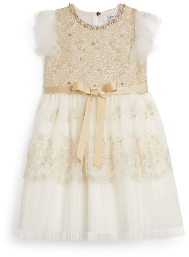 Lesy Crystal-Embellished Lace Dress (3-14 Years)