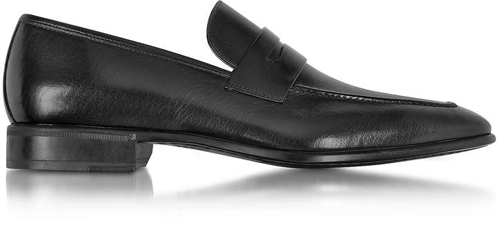 Moreschi Liegi Black Buffalo Leather Loafer w/Rubber Sole