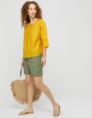 Monsoon Scarlet Relaxed Blouse in Pure Linen Blue