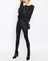 WÅVEN High Rise Skinny Jeans With In Super Lux Coated Denim