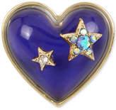 Betsey Johnson Gold-Tone Pavé Stars & Blue Stone Heart Mood Ring