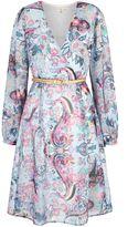 Yumi Paisley Print Long Sleeve Wrap Dress