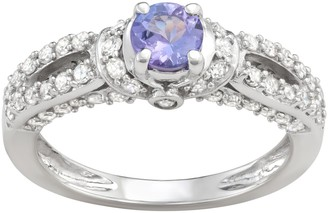 14k White Gold 5/8 Carat T.W. Diamond & Tanzanite Engagement Ring