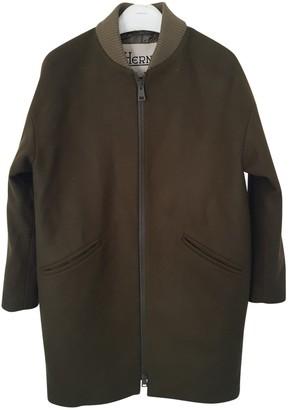 Herno Khaki Wool Coat for Women
