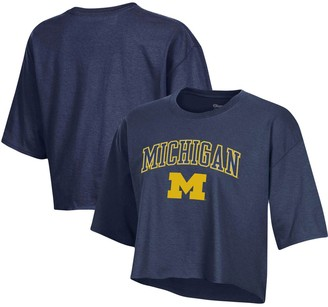 Champion Women's Navy Michigan Wolverines Boyfriend Crop T-Shirt
