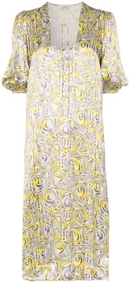 Ganni swirl print midi dress