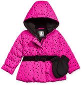 S. Rothschild 2-Pc. Dot-Print Hooded Puffer Jacket & Mittens Set, Toddler Girls (2-6X) & Little Girls (2-7)