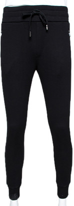 Dolce & Gabbana Black Stretch Cotton Rubberized Plate Track Pants IT 52