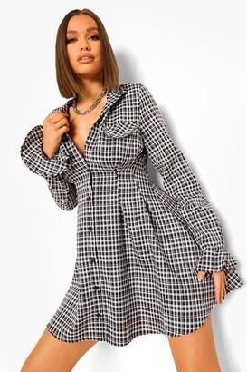 boohoo Checked Cinched Waist Skater Shirt Dress