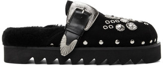 Toga Pulla Black Suede Buckle Loafers