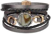 Saachi Style Style Women's Bracelets Grey - Gray Agate Leather Strand Bracelet