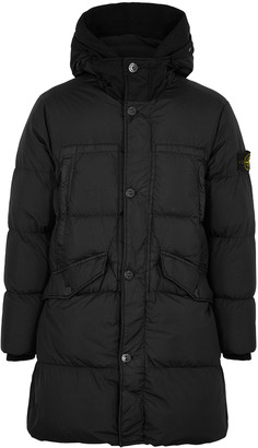 Stone Island Black quilted garment-dyed nylon jacket
