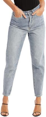 Missguided Blue Riot High Rise Clean Lightwash Mom Jeans Lt