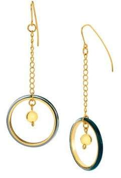 Gold And Honey Thin Lucite Chain Drop Earrings