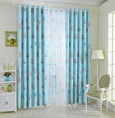 """LELVA Owl Curtain Kids Room Curtains Windows Drapes Decorative Curtain Thermal Insulated Blackout Panels Set of 2 (W42"""" X L84"""", Blue)"""