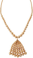 Lydell NYC Long Textured Golden Beaded Tassel Necklace