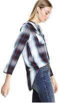 Joe Fresh Women's Plaid Roll Up Sleeve Blouse, Dusty Blue (Size L)