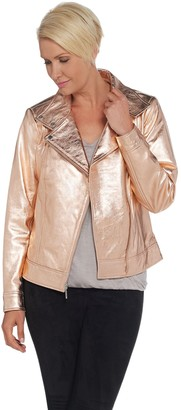 H by Halston Metallic Leather Motorcycle Jacket