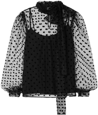 Costarellos Bow-embellished Polka-dot Flocked Tulle Blouse