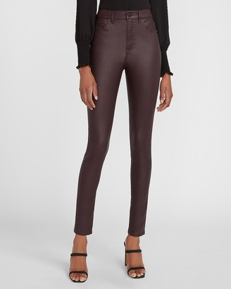 Express High Waisted Coated Maroon Skinny Jeans
