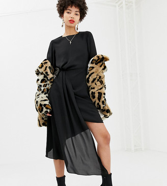 NA-KD dress with asymmetric draping detail in black