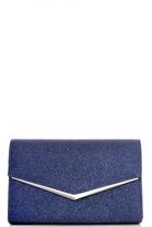 Quiz Navy Glitter Envelope Clutch Bag