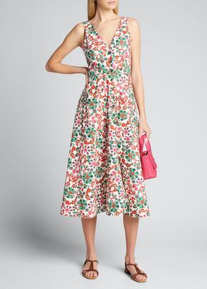 Saloni Zoey Floral-Print Button-Front Midi Dress
