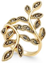 INC International Concepts Gold-Tone Black Crystal Bypass Vine Ring, Created for Macy's