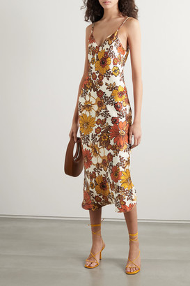 Dodo Bar Or Corinna Floral-print Silk-jacquard Midi Dress - Brown