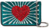 Les Petits Joueurs Ginny Heart shoulder bag - women - Leather/Zirconium/Velvet - One Size