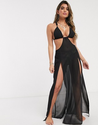 Candypants Candy Pants black cut out maxi dress with contrast straps