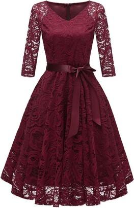 Needra Red Dress Women Ladies Lace Elegant Bridesmaid Christmas Xmas Dressing Gown 1950 1940 1920 Size 16 18