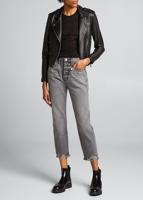Frame Le Original Straight Raw-Edge Cropped Jeans