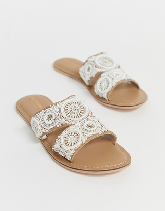 Accessorize cream beaded embellished flat summer slip on sandals