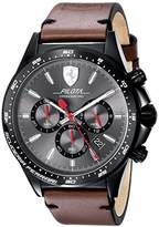 Ferrari Scuderia Men's 'PILOTA' Quartz Stainless Steel and Leather Casual Watch, Color:Brown (Model: 0830392)