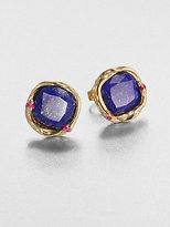 Elizabeth and James Lapis and Ruby Earrings