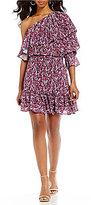 devlin Irina Floral Printed Ruffle Sleeve One-Shoulder Shift Dress