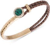 lonna & lilly Gold-Tone and Brown Leather Stone and Pavé Bracelet