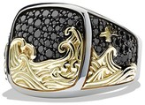David Yurman Waves Signet Ring with 18K Gold and Black Diamonds