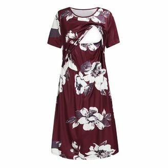 So Buts Maternity Dress SO-buts Women Maternity Short Sleeve Floral Print Nursing Baby Sundress Breastfeeding Loose Casual Beach Dress (Wine S)