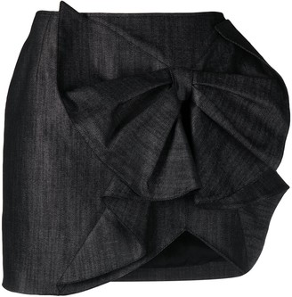 Gina Bow-Detail Faux-Leather Skirt
